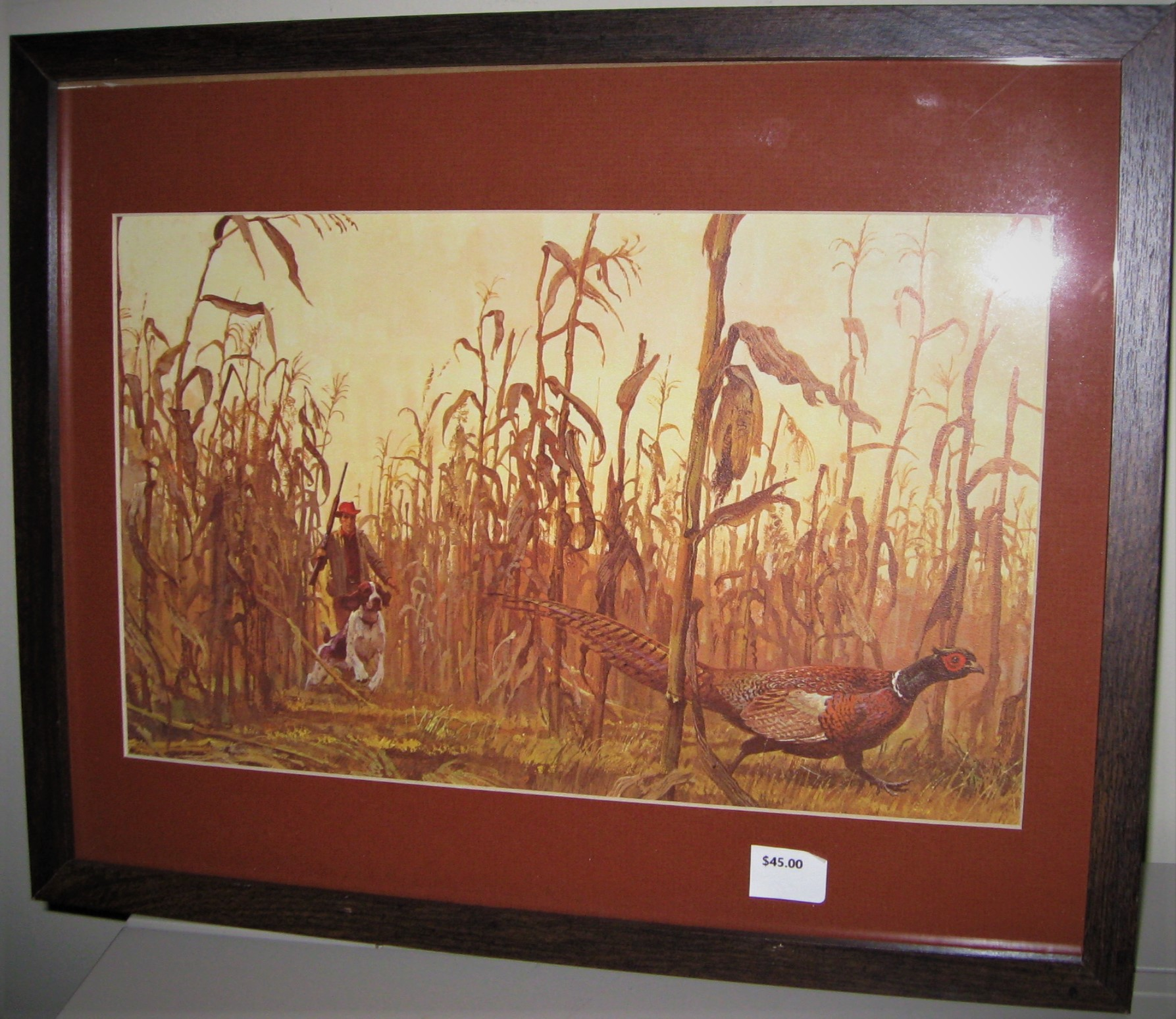 Image for VINTAGE PRINT OF HUNTING SCENE IN CORN FIELD, HUNTER, DOG AND PHEASANT,