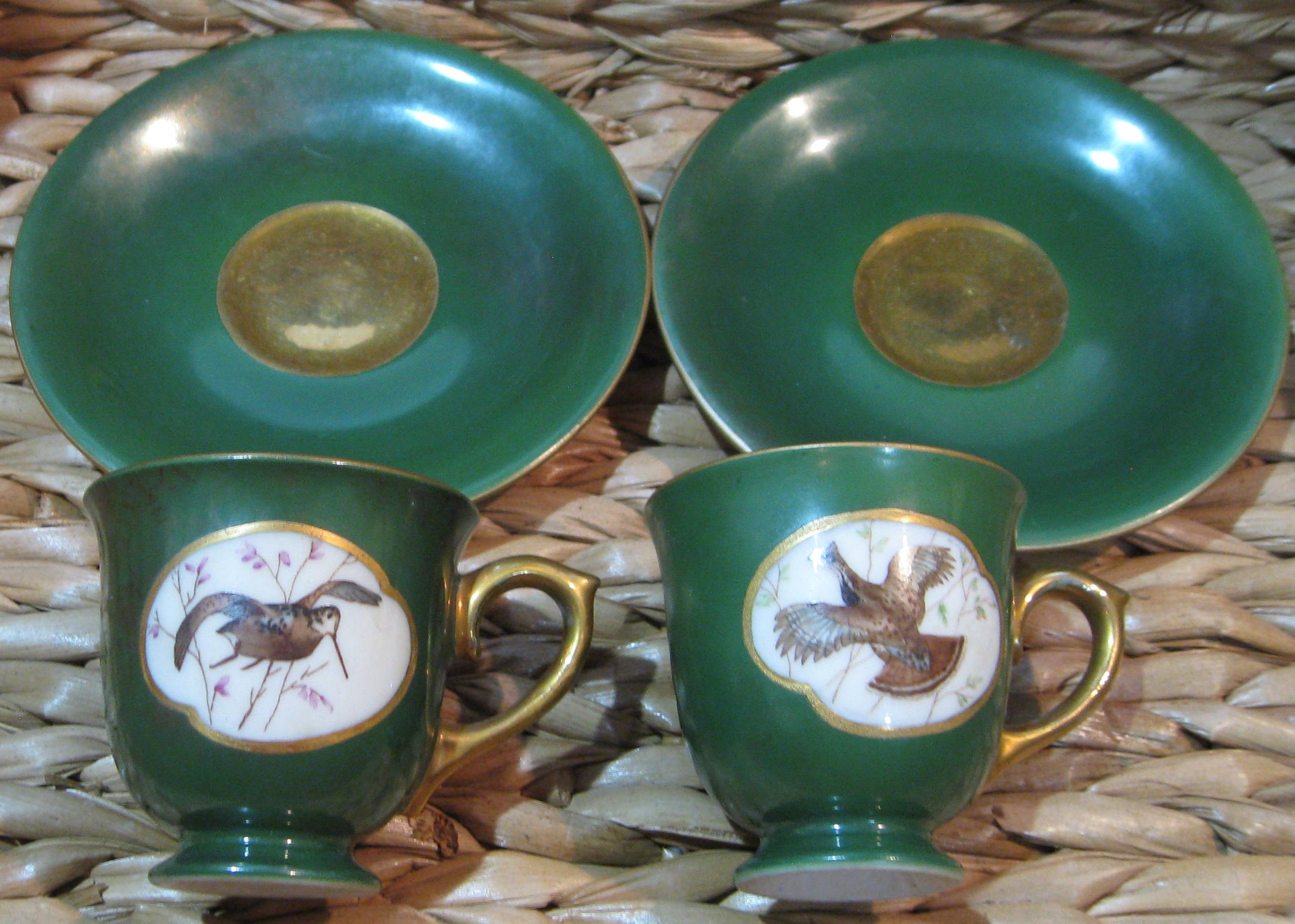 Image for VINTAGE FINE PORCELAIN DEMITASSE GROUSE AND WOODCOCK COFFEE CUPS AND SAUCERS - SET OF 2 -